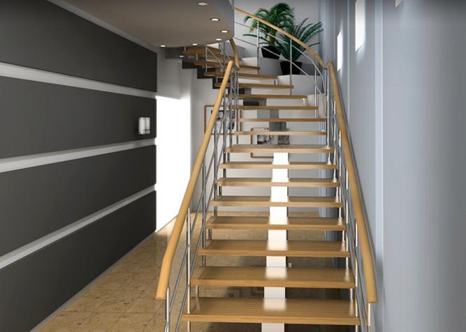 Aufgesattelte Treppe aus Holz mit Edelstahl-Sprossen